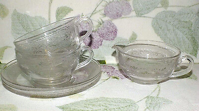 FOSTORIA ROYAL ETCH #273 CUP & SAUCER 1920'S 1930'S   SETS 2   EXC