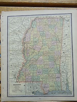 Nice colored map of Mississippi or Louisiana.  Cram's Atlas of the World.