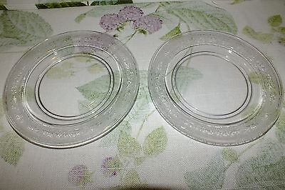 FOSTORIA ROYAL ETCH #273 LUNCH PLATES 1920'S 1930'S SET OF 2   EXC