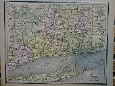 Nice colored map of Connecticut.  Cram's Atlas of the World.