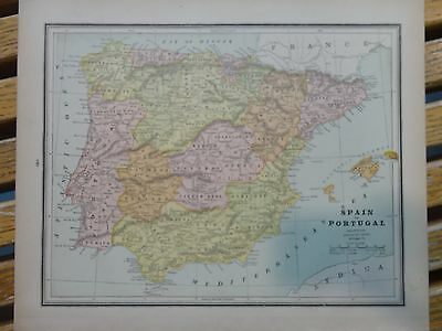 Nice colored map of Spain & Portugal.  Cram's Atlas of the World.