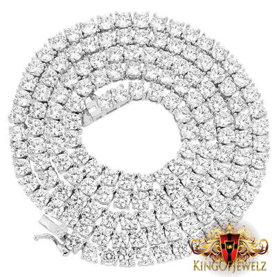 """BRAND NEW MENS FULLY ICED 1 ROW SIMULATED DIAMOND 4 PRONG CHAIN NECKLACE 36/"""" 8MM"""