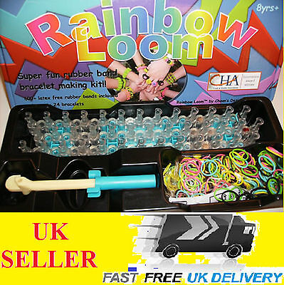 New Rainbow Loom Kit Rubber Band Bracelet 600+ Bands C or S Clips Blue Box