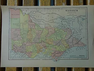 Nice colored map of Victoria. Pub. 1895 in the People's Cyclopedia.