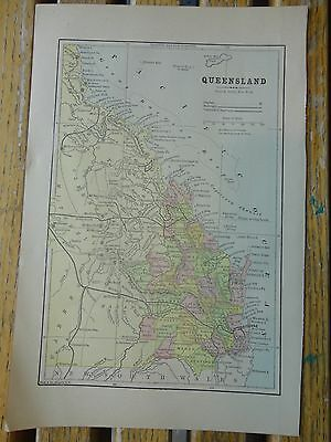 Nice colored map of Queensland. Pub. 1895 in the People's Cyclopedia.