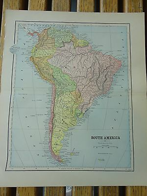 Nice colored map of South America.  Pub. in 1895 in The People's Cyclopedia.