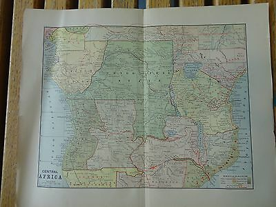 Nice colored map of Central Africa.  Pub. in 1895 in The People's Cyclopedia.