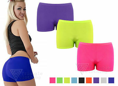 Ladies Womens Stretch Hot Pants Shorts Black Neon Mini Dance Colours Gym Cycle