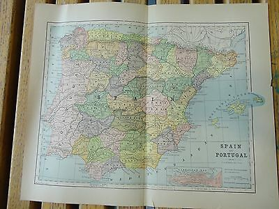 Nice colored map of Spain.  Pub. in 1895 in The People's Cyclopedia.