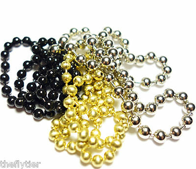 BEAD CHAIN for Eyes : Gold Silver or Black in Small Medium or Large  - Fly Tying