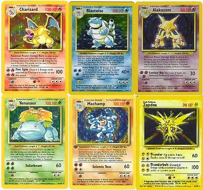 Rare Holo (shiny) base set pokemon cards All 16 Available Out of print!