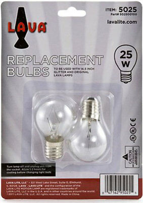 "2 Pack Lava Lamp 25 Watt Replacement Bulbs for 14.5""/20oz lamp"