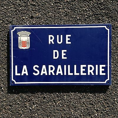 French Street Enamel Sign Plaque - RARE FROM AVIGNON metal Saraillerie
