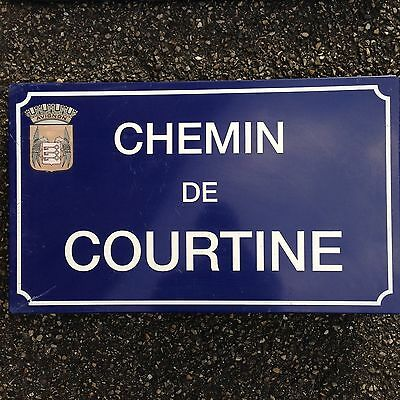 French Street Enamel Sign Plaque - RARE FROM AVIGNON metal courtine