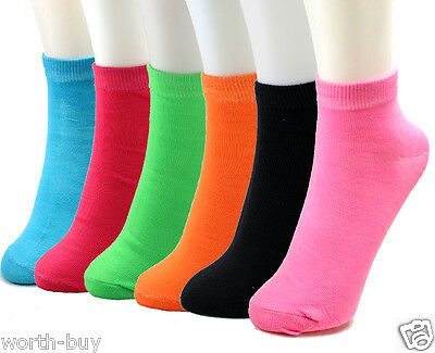 6-12 Pairs Pack Ankle Womens Socks Size 9-11 Solid Neon Multi-Color Girl New Fit