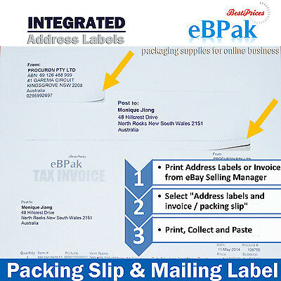 1000 Integrated Address Label 4 eBay Sales Manager Packing Slip Address printing