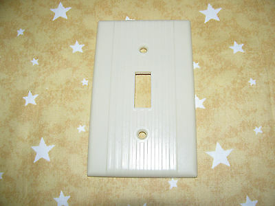single Vintage WIDE RIBBED ivory light switch cover plate smooth side