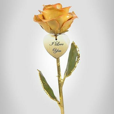 24k Gold Dipped Rose Cream / Pink Rose &  Heart (Free Anniversary Gift Box)