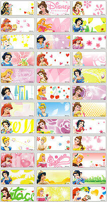 36 Disney Princess Personalised Name Label Sticker 3x1.3cm vinyl waterproof girl
