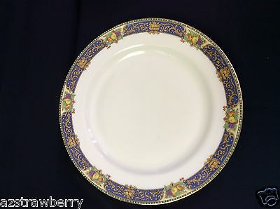 "J Pouyat JP LIMOGES  France W lot of 2 9"" plate china cobalt blue gold scroll"