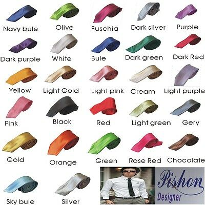 Mens Skinny Tie Fashion Solid Plain Colour Satin Formal wedding Casual Necktie