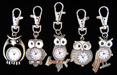 Wholesale Hot 10 pcs Owl Mixed Key Ring watches gifts (5 styles) L71 - FREE P&P