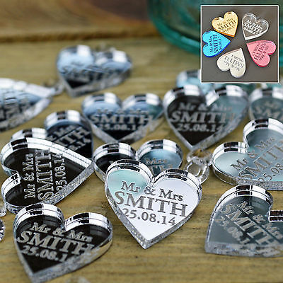 Personalised Love Hearts Wedding Favours Table Centrepiece Decorations Mr & Mrs
