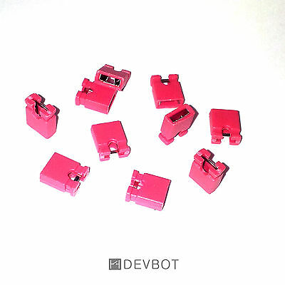 Lot de 10 à 100 Cavaliers Rouge, pas de 2,54mm. Jumper. DIY, Arduino, Pi, CM, HD
