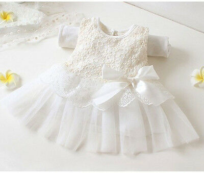 NEW Baby Girl Dress Pink White Lace Christening Party Wedding Flower Girl Dress