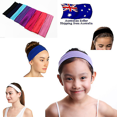 Womens Girls Kids Headband Cotton Wide Head band Sport Exercise Black Pink White