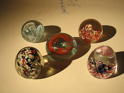 Lot of 5 Glass paperweights,