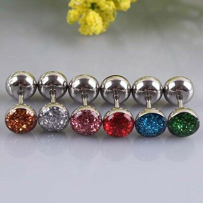 Fake Ear Plug Earring Sparkly Glitter Cheater Stretcher Tunnel 316L