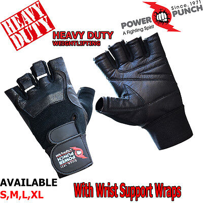 Power Xtreme lifting Gym Gloves Leather Fitness Exercise Body Building New