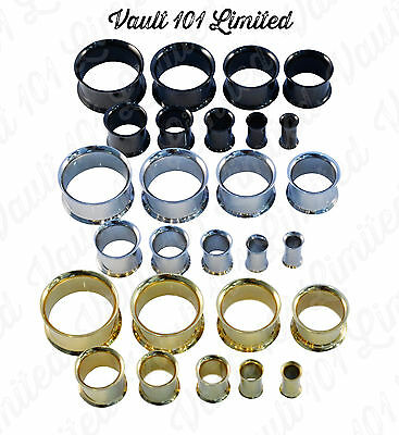 DOUBLE FLARED 316 Steel Metal Ear Flesh Tunnel Stretcher Plug Various Sizes