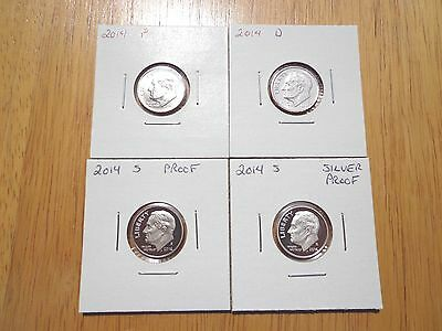 2014 P D S S Roosevelt Dime SILVER & Clad Proof 4 Coin Set Lot
