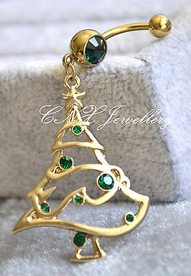 316L Dangling Gold GP Large Green Xmas Tree Navel Bar Belly Ring Limited Edition