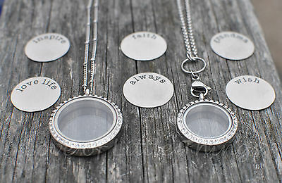 Floating Charm Locket Necklace Living Life Stainless Steel 30mm or 25mm w/ CHAIN