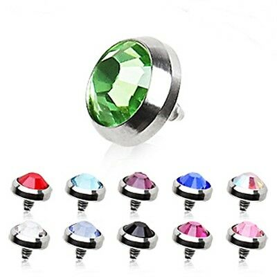 New Surgical Steel Dermal Anchor Head Top with Gem 4mm Various Colours 14g