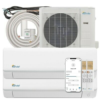18000 BTU Dual Zone Ductless Mini Split Air Conditioner Energy Star 22.5 SEER