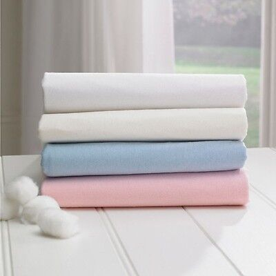 2 PACK MOSES BASKET FITTED SHEETS 100% COTTON 30 x 74 CM