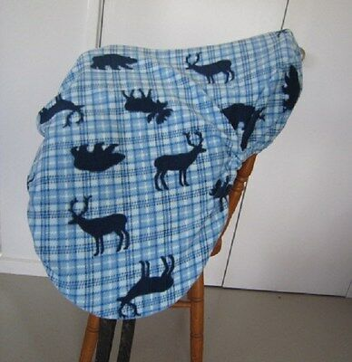Horse Saddle cover Blue tartan with FREE EMBROIDERY Australian Made Protection