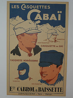 """VINTAGE FRENCH HAT/CAP COLOR ADVERTISING SIGN! 9x14""""! FRANCE! VERY NICE SHAPE!"""