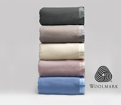 Australian Wool Blanket 480GSM SUPER THICK Pure Bedcover by BIANCA New ALL SIZES