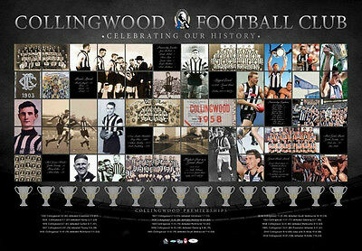 Collingwood Football Club Premiership Years Print Afl Magpies Premiers History