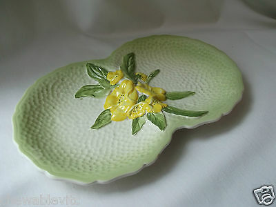 Lovely Carlton Ware Yellow Buttercup on Green Oval Double Serving Dish