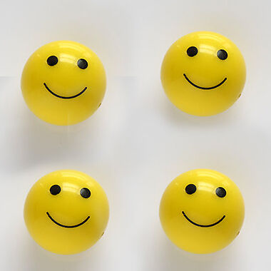 4 Car Truck Bike - YELLOW SMILE FACE BALL - Smily Tire / Wheel air valve Caps