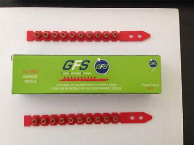 10 x Boxes of 100 PAT Charges - Hilti / Ramset  .27 Calibre Strip Charges - RED