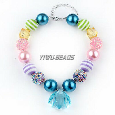 New Gradient Chunky Solid beads Bubblegum Gumball Necklace Pendant Jewelry Girls