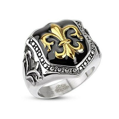 Stainless Steel Golden Fleur De Lis Glossy Epoxy Coated Shield Wide Cast Ring