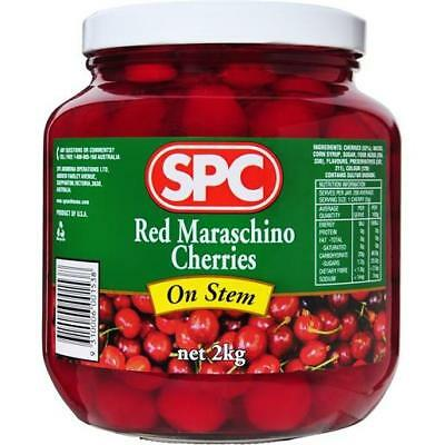 TANIA RED MARASCHINO CHERRIES WITH STEM 2KG - Ideal for cocktails!